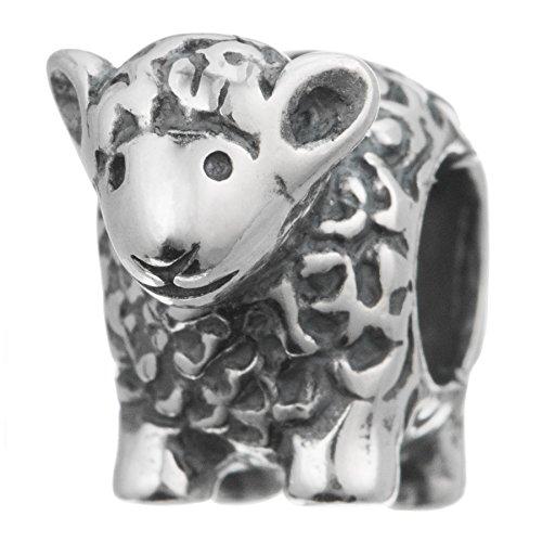 Baby Lampe Schaf, antikes 925 Sterlingsilber, für europäische Charm-Armbänder
