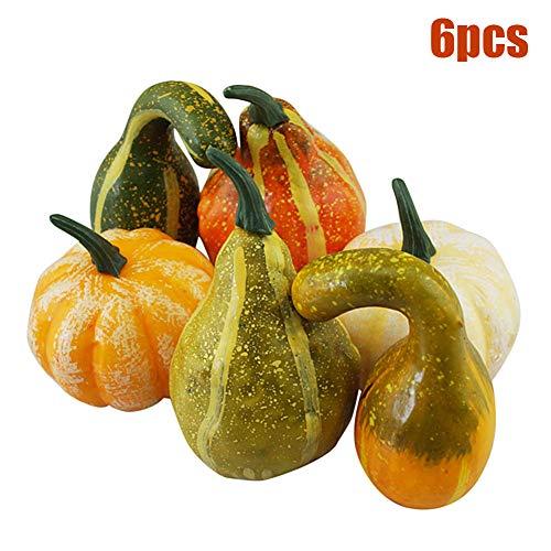 Kylewo 6 Piezas de Surtido de Calabaza Decorativa, Calabaza Realista Artificial, Calabaza caída Naturaleza Deco Blanco Naranja Verde Halloween