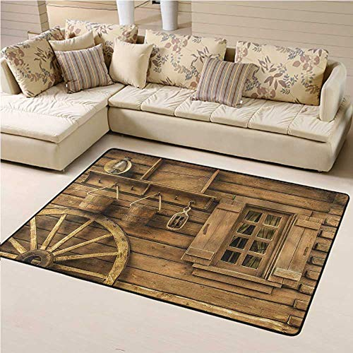 Rugs Western, Old Wagon Wheel and House Modern Geometric Area Rug Decorative Floor and Best Gift for Children 6 x 9 Feet