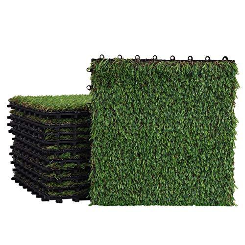 Mendler Grasfliese HWC-E13, Rasenfliese Grasmatte Kunstrasen, Balkon/Terrasse 11x je 30x30cm = 1qm