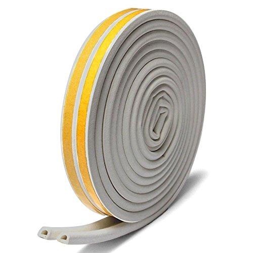 隙間テープ,Misirin 気密 窓 ドア 環境にやさしい 強力接着剤 パッキン 防風 防音 防虫 隙間 すきま 戸当たり 2本入 D型 グレー (色選択あり)