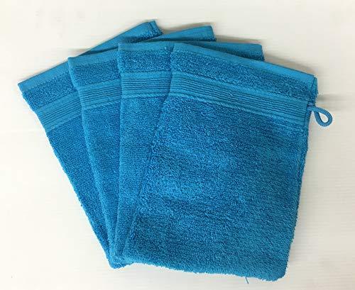 Alpes Blanc Lot de 10 Gants de Toilette 600gr/m² 100% Coton/Set de 10 Gants de Toilette Ultra-Confort (Turquoise)