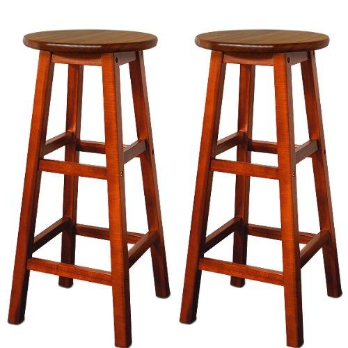 Deuba 2x Taburetes de bar marrónes altos de madera de acacia sillas de estilo colonial para