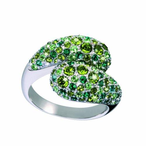 Glamour World Ring 925 sterling zilver met Swarovski-kristallen peridot/olijf