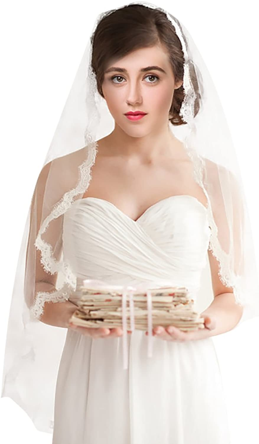 1 Tier Wedding Veil with Comb Lace Edge Ivory White Fingertip Length Short