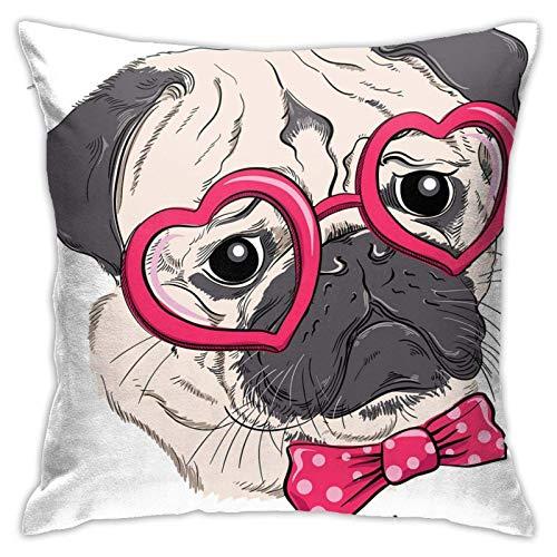 qidong Funda de cojín decorativa con diseño de perro con cristales en forma de corazón y pajarita con lunares y texto 'Ich Liebe Möpse'