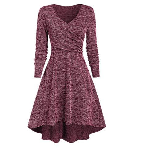 N\P Mujeres Otoño Invierno Vestidos Moda Color Sólido Vestido Más Tamaño Manga Larga Asimétrica Traje Casual Maxi Lady Vestidos
