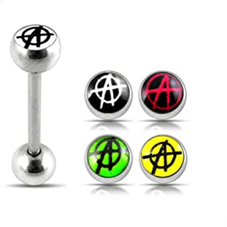 One Full Set Logo Tongue Bar with 4 Pices Interchange ANARCH Logo Ball Tongue Piercing jewelry