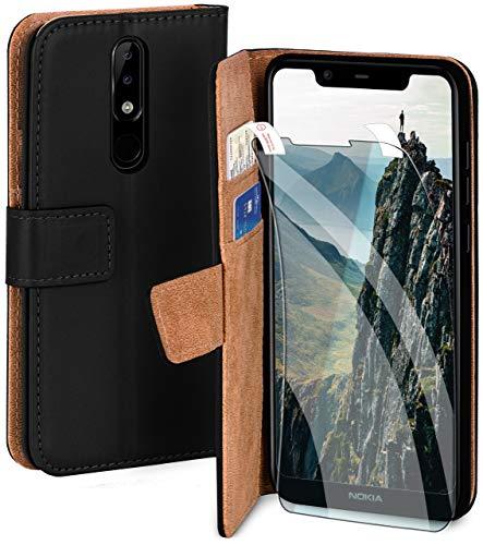 moex Handyhülle für Nokia 5.1 Plus - Hülle mit Kartenfach, Geldfach & Ständer, Klapphülle, PU Leder Book Hülle & Schutzfolie - Schwarz