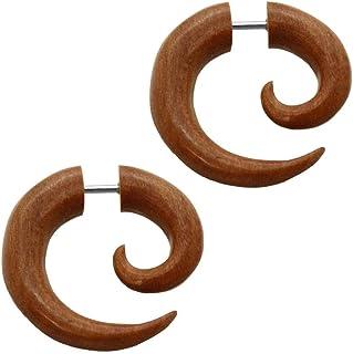 tumundo 2 Finto Spirale Fake-Plugs Piercing Tappo Falso Estensore Expander Taper Dilatatore Corno Legno Osso Orecchini