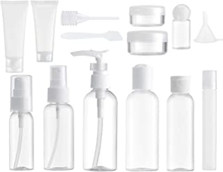 14 Piezas Set Botellas de Viaje Accesorios (Max. 100ml) Botella Plastico Avion, Contenedor Dosificador, Envases para Cosmetica, Kit Botes (Transparente)