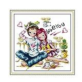Proumhang 14 CT Kits de punto de cruz Pintura decorativa de hilo de algodón 2 Lona ecológica Aida Impreso 28x27cm: La pareja romántica