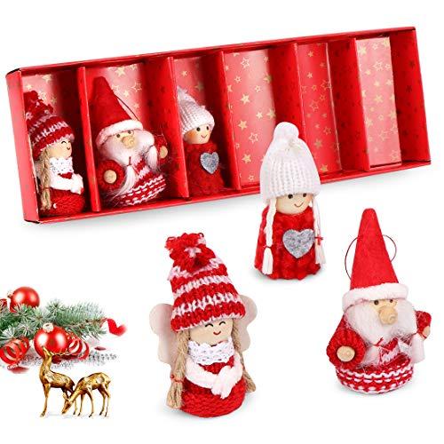 O-Kinee 2020 - Bambole natalizie fatte a mano, 6 pezzi, set di bambole di Natale per feste e feste