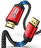 Cavo DisplayPort a HDMI 4K@60Hz 2m, JSAXU 4K Ultra HD Cavo DP to HDMI in Nylon Adattatore Display Port a DHMI Placcato in Oro Compatibile con Lenovo, HP, DELL, HDTV, Proiettore, Monitor - Rosso