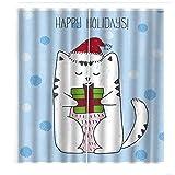 QWFDAQ Cortinas Salon Gato Animal de Dibujos Animados Rojo Blanco Azul Cortinas Opacas 110cm x215cm x2 Cortinas habitacion - Cortinas aislantes para salón, Dormitorio, Oficina, balcón