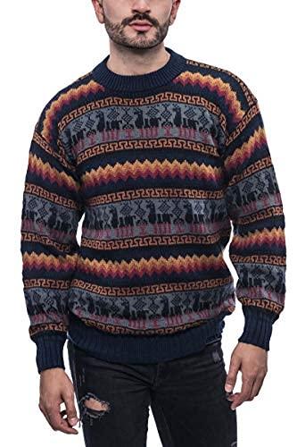 Gamboa - Alpaca Sweater for Men - Genuine Mens Alpaca Wool Sweater - Fire Colors