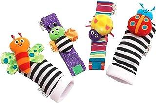 1 Pair Baby Wrist Rattles and 1 Pair Socks Rattles Set Educational Development Plush Toys Baby Gift JB-Tong