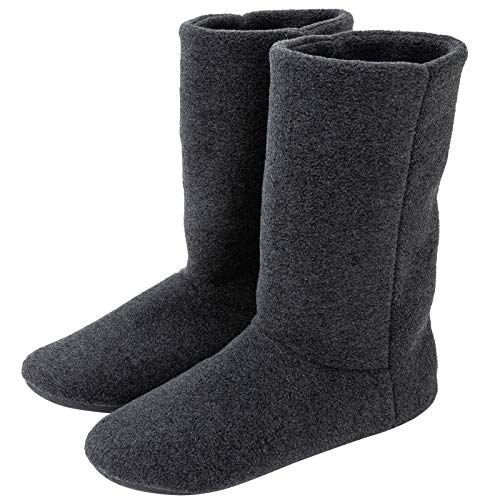 [KOCOTA] ロングタイプ ルームブーツ あったか ルームシューズ 冬用 室内履き 足冷え対策 メンズ レディース 黒灰色 23.5~25cm