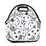 ADONINELP Lunch Bag Bolsa Bento portátil,Patrones de elementos deportivos de fútbol,Paquete de neopreno con cremallera para la escuela,el trabajo,la oficina,el bolso de viaje