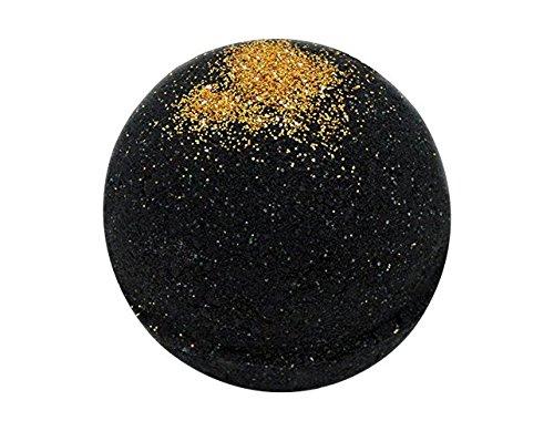 Black Bath Bomb with Gold Glitter - Large Bath Bomb 7.5oz - Anti-Aging - Epsom Salts - Coconut Oil - Kaolin Clay - Skin Moisturizers - Body Wash - Aromatherapy Bath (Soul Cleanser w/Gold Glitter)