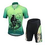 LPATTERN Ropa Conjunta de Ciclismo Bicicleta Maillot de Manga Corta + Pantalones Secado Rápido para Niños Niñas, Verde con Ciclista, 8-9 años/L