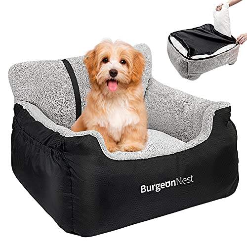 BurgeonNest Dog Car Seat for Small Dogs, Fully Detachable and Washable Puppy Dog Booster Seats, with Storage Pockets and Clip-On Leash Portable Soft Dog Car Travel Carrier Bed