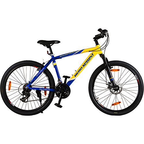 """Hero Octane Endeavour 26T 21 Speed Adult 18, Steel Mountain Bike Bicycle - Yellow and Blue (18"""" Frame)"""