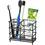 Urbanstrive 304 Stainless Steel Bathroom Toothbrush Holder Toothpaste Holder Stand Bathroom Accessories Organizer (Black, Small)