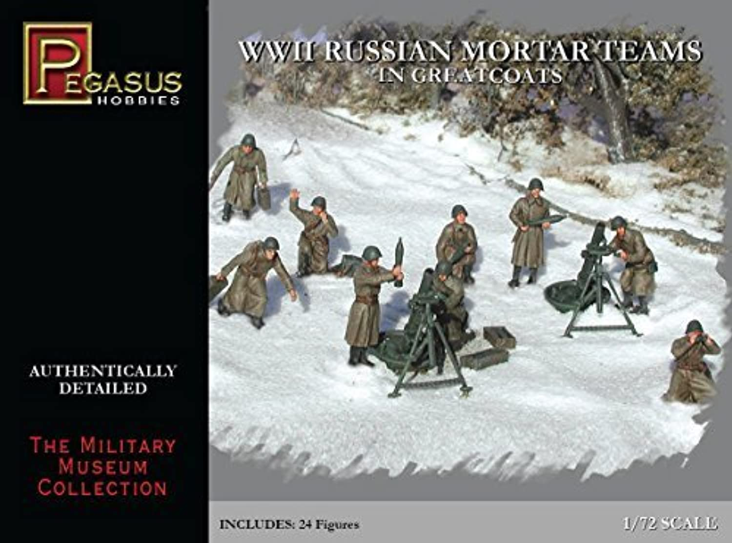 1 72 WWII Russian Mortar Teams in Greatcoats by Pegasus Hobby