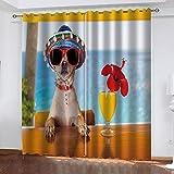 WDQFGE Cortinas Opacas para Dormitorio Cachorro de Playa de Verano 280x215 cm Cortinas Salon Modernas Aislantes Térmicas Habitacion Opacas Estilo Moderno Elegante con Ojales 2 Piezas