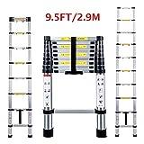 Telescopic Ladder 2.9M Jason Multi-Purpose Aluminium Telescoping Ladder Extendable Portable Loft Ladder Foldable Ladder with EN131 and CE Standard (9.5FT/2.9M)