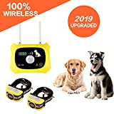 Wireless Dog Fence Electric Pet Containment System, Safe Effective No Randomly Shock Design, Adjustable Control Range 1000 Feet & Display Distance, Rechargeable Waterproof Collar (2 Dog System)