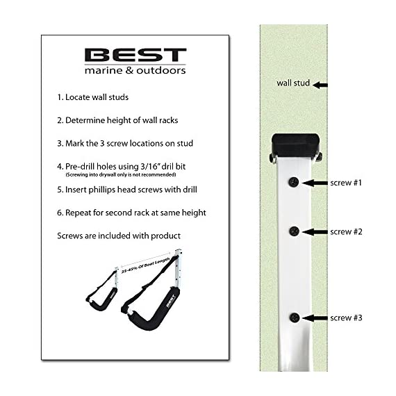 Best Marine Kayak Storage Racks. Premium Wall Mount Accessories for Kayaks and SUP Paddle Boards. Two Indoor/Outdoor… 3 HOW ARE WE DIFFERENT? - Our storage racks are made from heavy duty powder coated steel with nylon covered foam padding. They're lightweight, strong, require no assembly, are easy to install and they're affordable! WHY BEST MARINE AND OUTDOORS? - Our company goal and mission is to help people find inner peace and purpose through kayaking. When you're paddling trip is over, know that your prized possession is safe and secure waiting for your next trip on the water WHO ARE OUR STORAGE RACKS FOR? - Our wall hangers are for people looking for a simple, strong solution to protecting and storing their kayaks. Our racks can easily be installed in your garage, shed, under your deck or on your dock or pier