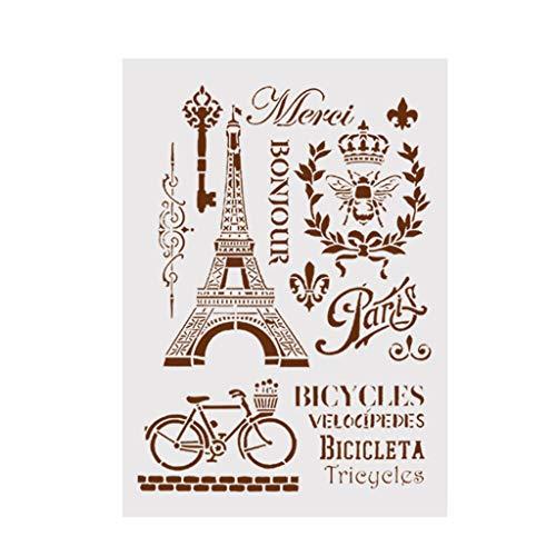 Vektenxi DIY Eiffelturm Vorlage Schichtung Schablonen für Wände Malerei Scrapbooking Album Dekorative Präge Papier Karte Kostengünstige und Gute Qualität