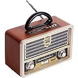 Fikujap Radio De Madera Retro, Am SW Radio FM, Altavoz Inalámbrico Bluetooth 4.0, con Estilo Antiguo, Bajo Fuerte, Mini Audio Al Aire Libre Volumen Alto