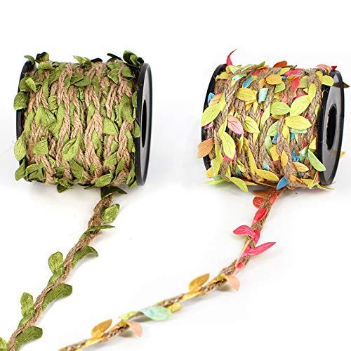 Cinta Con Hoja Verdes Artificial Natural Cuerda De CañAmo Verde Hojas Hojas Verdes De Yute Cuerda Trenzada De CáñAmo Natural Para Bodas Del Hogar Manualidades Y DecoracióN De JardíN 10m 2 Rollo