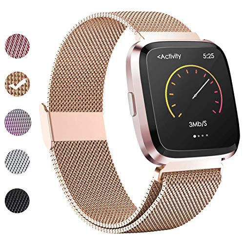 BeYself Compatible para Fitbit Versa Correa, Pulsera de Reemplazo Ajustable Acero Inoxidable Banda Compatible con Fitbit Versa para Mujeres y Hombres