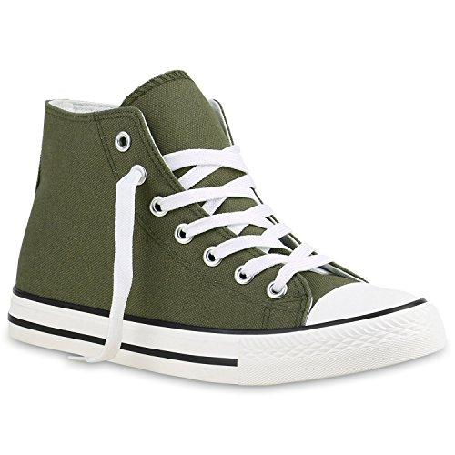 stiefelparadies Herren Sneakers Sneaker High Denim Turn Camouflage Stoff Schnürer Schuhe 135179 Dunkelgrün Weiss 36 Flandell