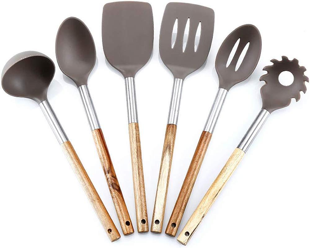 JunbosiKitchenware Six Piece Kitchen Utensils Non Stickware Wooden Handle Nylon Kitchenware High Temperature Resistance