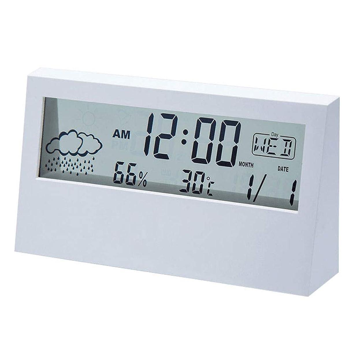 理解するレザー鳥多機能電子目覚まし時計シンプルな寝室のベッドサイドスマートデジタル時計学生ホームミュート表示天気温度