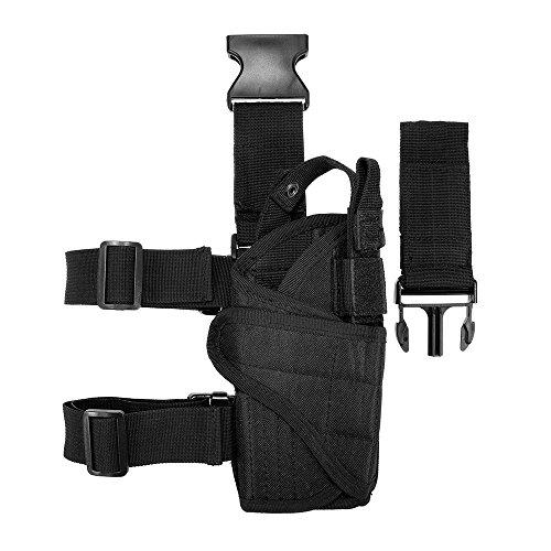 Lixada Équipement de tir de Chasse en Plein air Holster Cuisse Leg Gear Gear Holster Wrap-Around avec Longe de Bobine (Noir)