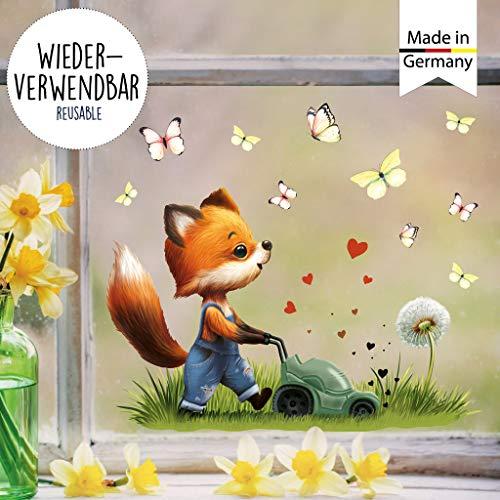 Wandtattoo Loft Fensterbild Frühling Ostern wiederverwendbar Fensteraufkleber Kinderzimmer Fuchs Rasenmäher Schmetterlinge Babyzimmer/Fuchs Rasenmäher (1029) / 1. DIN A4 Bogen