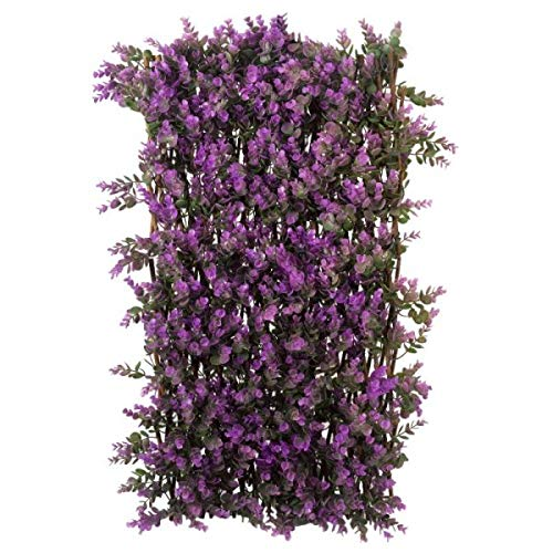 garden mile Topiary Trellis Green, Red or White Leaves and Flowers Artificial Leaf Trellis Spring and Summer Creeping Garden Faux Climbing Ivy Plants Vines (Vivid Violet Trellis, 180 x 90cm)
