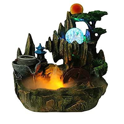 Tabletop Fountain Indoor Cascading Waterfalls Desktop Small Rockery with Mister Spinning Ball for Decoration Gift