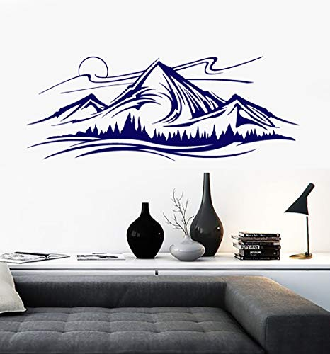 Mountains and Trees Pattern Wall Decal Night Vinyl Nature Landscape Art Mural Sketch Wall Stickers Home Decor Modern Draw SYY734