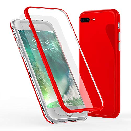 NALIA 360° Funda de Vidrio Compatible con iPhone 8 Plus / 7 Plus, Magnética Carcasa Integral Completa con Cristal Templado, Ultra-Fina Cubierta Móvil Protectora Cover Bumper Estuche, Color:Rojo