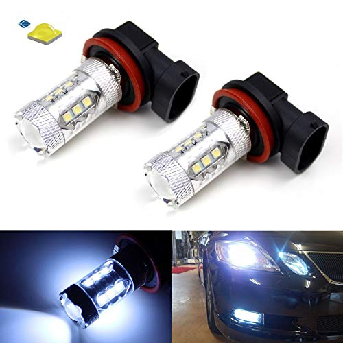 iJDMTOY 8000K Light-Blue 80W High Power CREE H11 H8 LED Bulb compatible with Chevrolet Camaro Fog Lights Driving Lamps
