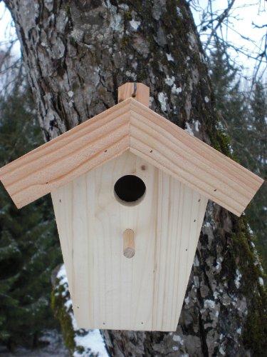 Dekorativer Nistkasten (N8) Lärchenholzdach für Kleiber und Meisen Groß-Vogelhaus-Vogelhäuschen-sauberste Verarbeitung-Vogelhaus Garten Deko