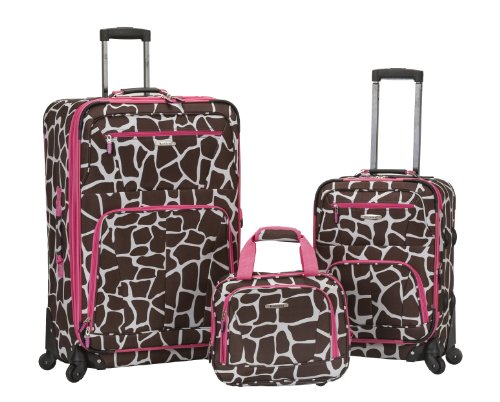 Rockland Pasadena Softside Spinner Wheel Luggage, Pink Giraffe, 3-Piece Set (14/20/28)