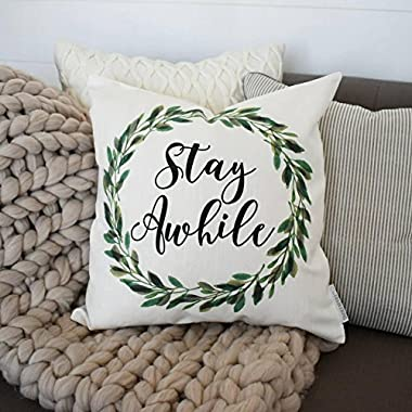Pillow Cover Farmerhouse rustic Spring boxwood wreath green leaf wreath18x18 stay awhile